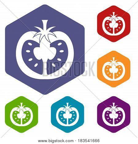 Half of tomato icons set hexagon isolated vector illustration