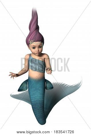 3D rendering of a little mermaid isolated on white background
