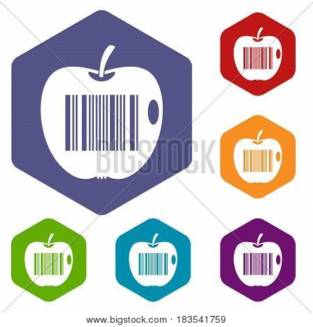 Code to represent product identification icons set hexagon isolated vector illustration