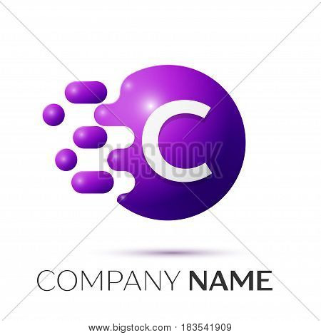 C Letter splash logo. Purple dots and circle bubble letter design on grey background. Vector Illustration