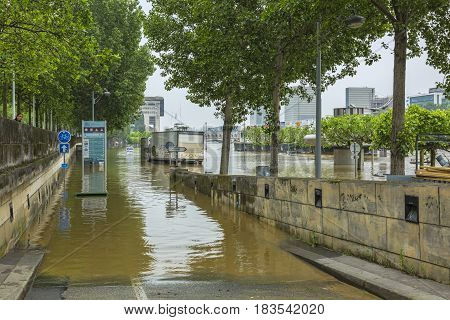 ParisFrance - June 05 2016: The embankment of River Seine is covered by water after the massive flooding in Paris during the first days of June 2016.