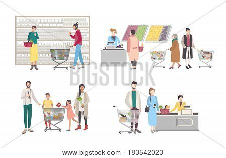 Concept for supermarket or shop. Set with buyers characters at the cash register, near the racks, weighed goods, people with shopping cart. Collection vector illustration