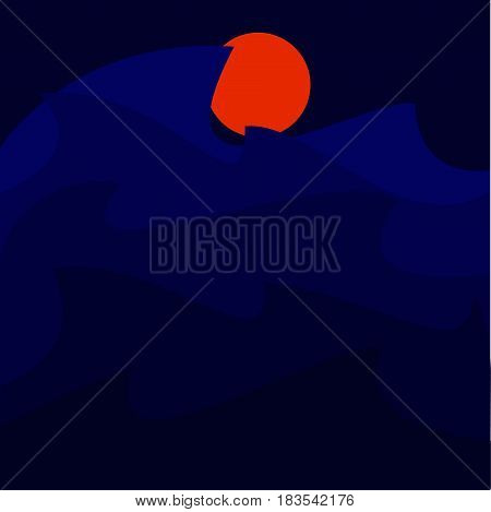 Landscape with a storm and orange moon.