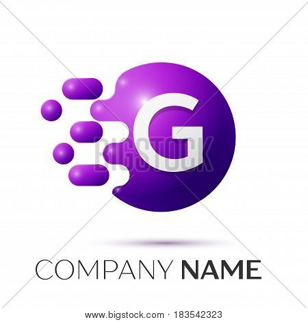 G Letter splash logo. Purple dots and circle bubble letter design on grey background. Vector Illustration