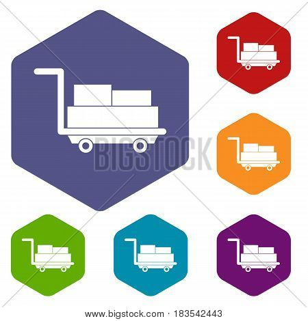 Cart with luggage icons set hexagon isolated vector illustration