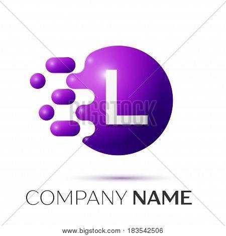 L Letter splash logo. Purple dots and circle bubble letter design on grey background. Vector Illustration