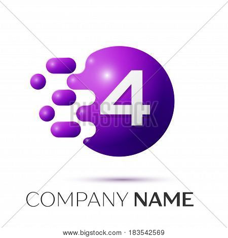 Number four splash logo. Purple dots and bubbles number design on grey background. Vector Illustration