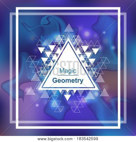 Magic geometry background with triangle. Vector illustration