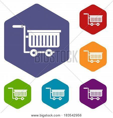 Large plastic supermarket cart icons set hexagon isolated vector illustration