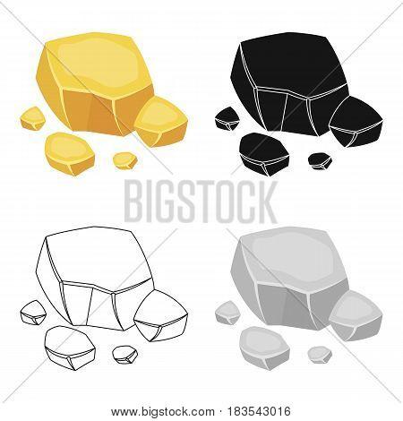 Copper ore icon in cartoon design isolated on white background. Precious minerals and jeweler symbol stock vector illustration.