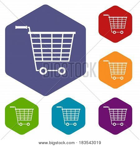 Empty supermarket cart with plastic handles icons set hexagon isolated vector illustration