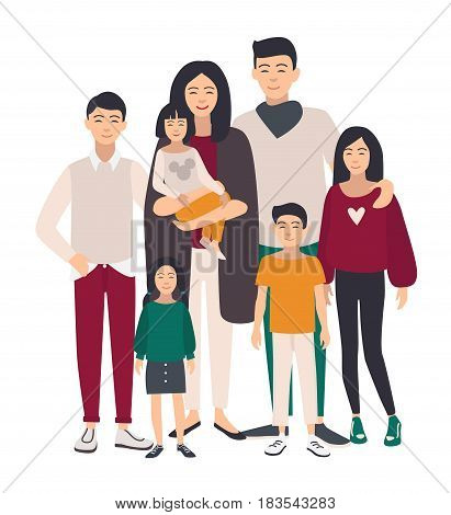 Large family portrait. Asian mother, father and five children. Happy people with relatives. Colorful flat illustration
