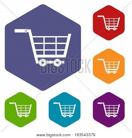 Large shopping trolley icons set hexagon isolated vector illustration