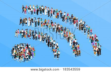 Crowd including businessmen and reporters standing in form wifi sign isometric concept on blue background vector illustration