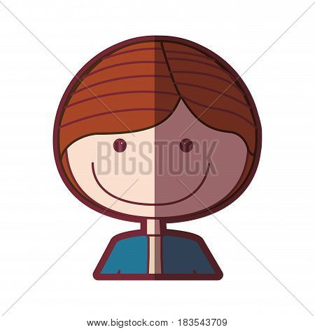 color silhouette shading cartoon half body guy with jacket vector illustration