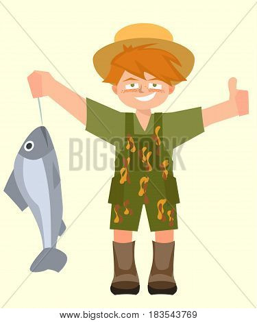 kid with caught fish and thumb up - funny vector cartoon illustration