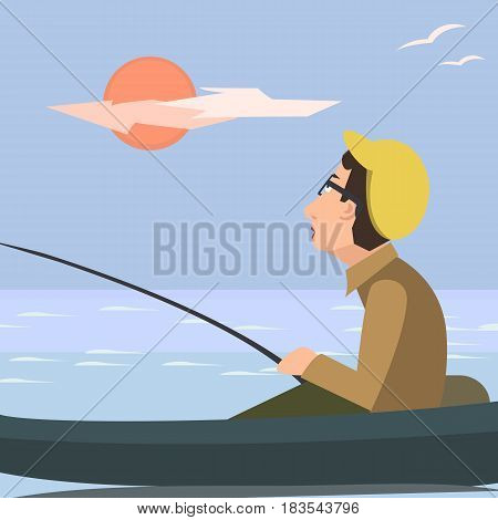 man fishing from the boat - funny vector catoon illustration