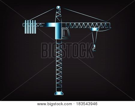 tower crane vector illustration with glowing neon light streak effect on mesh background.