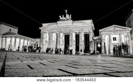 BERLIN GERMANY - APRIL 6: Brandenburg gate at night in Berlin on April 6 2017 in Berlin