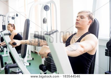 Portrait of a fitness man workout at gym