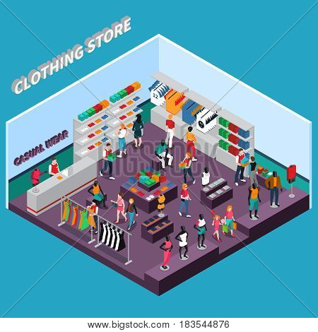 Clothing store isometric composition with customers shelves with goods racks with dresses mannequins in apparel vector illustration