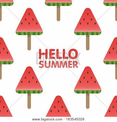 Hello Summer Letters In Seamless Watermelon Pattern Background Vector Illustration