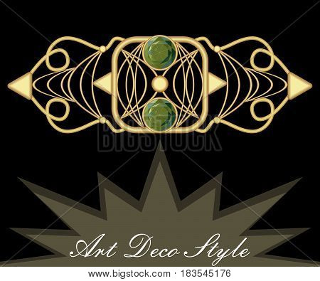 Gold art deco brooch with green gems emerald, antique accessory in victorian style, antiquarian jewel, vector EPS 10