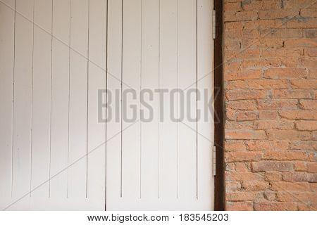 Door closeup with brick wall Modern interior design