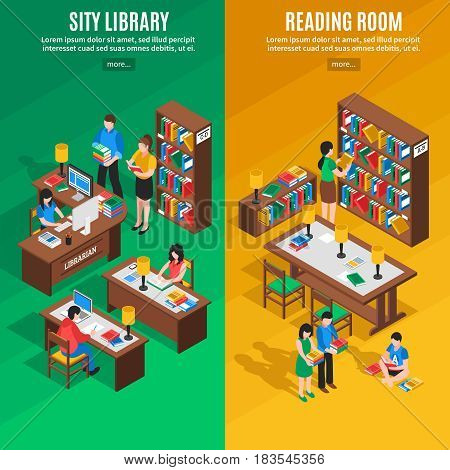 Isometric vertical banners with city library and reading room on green and yellow background isolated vector illustration
