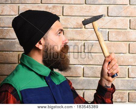 Bearded Builder Man Holding Hammer Serious Face