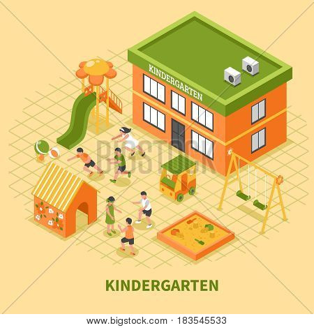 Kindergarten building isometric composition with kids group busy in sport and mobile games on playground vector illustration