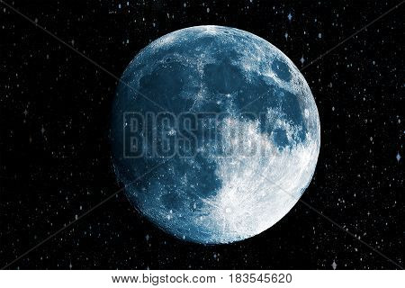 Super blue moon in the galaxy background