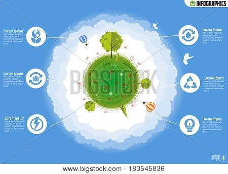 Ecology Infographics. Environmental template with flat icons, protection and Pollution. Go green. Save the planet. Earth Day. Creative concept of Eco Technology. Vector illustration.