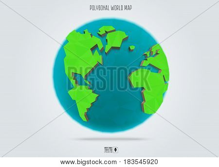 Polygonal Earth planet. Low poly design. Vector Illustration.