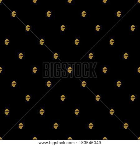 Abstract seamless pattern. Black and gold grunge background with simple geometric shapes.