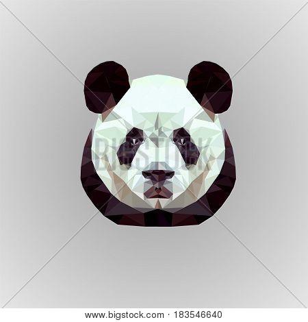 illustration low poly panda on gray beckground