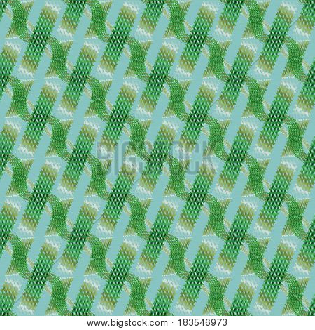 Abstract geometric seamless modern background, dimensional waffle-weave pattern. Regular stripes and wavy lines diagonally in green, light brown, khaki and white on aquamarine.