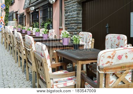 Terrace table in front of a restaurant in the Grand Duchy of Luxembourg
