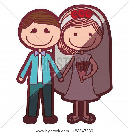 color silhouette shading cartoon groom with formal wear and bride with collected hairstyle vector illustration