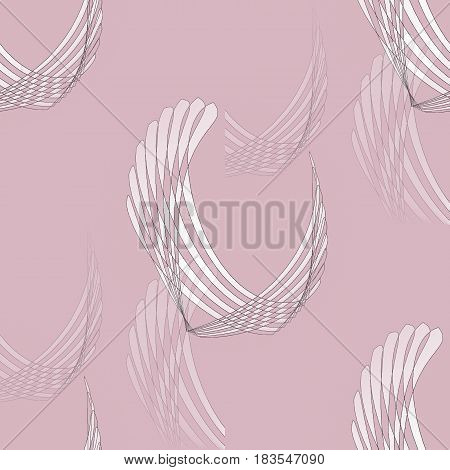 Abstract geometric seamless background. Regular curved stripes pattern white and pink on violet blurred.