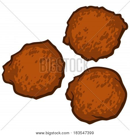 A vector illustration of a few Fried Hush-puppies.