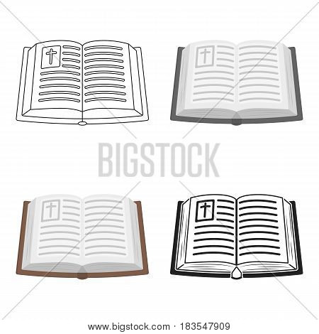 Bible icon in cartoon style isolated on white background. Religion symbol vector illustration.