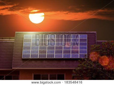 Green Energy Of Solar Cell Panel On House Roof