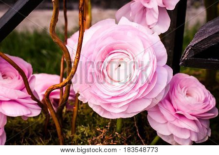 close up of a pink floral arrangement