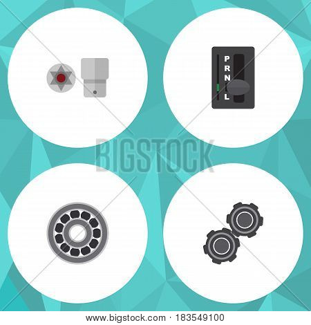 Flat Workshop Set Of Brake Disk, Belt, Turnscrew And Other Vector Objects. Also Includes Belt, Car, Turnscrew Elements.