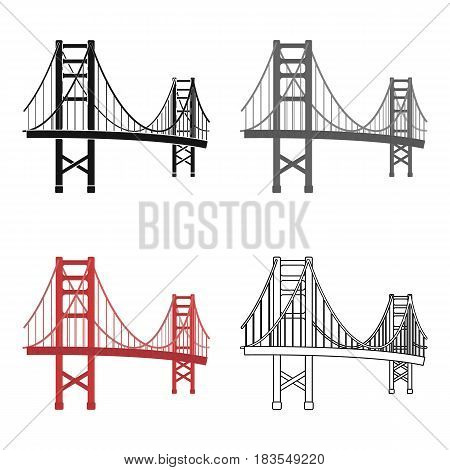 Golden Gate Bridge icon in cartoon style isolated on white background. USA country symbol vector illustration.