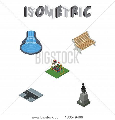 Isometric Architecture Set Of Sculpture, Garden Decor, Seesaw And Other Vector Objects. Also Includes Seesaw, Way, Sculpture Elements.