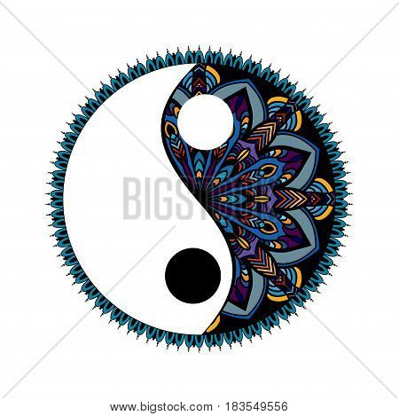 Yin yang decorative symbol. Hand drawn vintage style design element. mandala ornament doodles in zen tangle style.