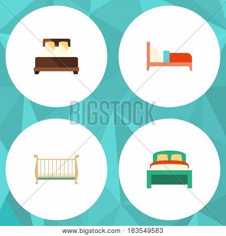 Flat Mattress Set Of Bearings, Mattress, Cot And Other Vector Objects. Also Includes Bedding, Bearings, Mattress Elements.