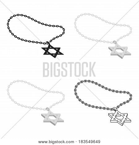 Star of David icon in cartoon style isolated on white background. Religion symbol vector illustration.